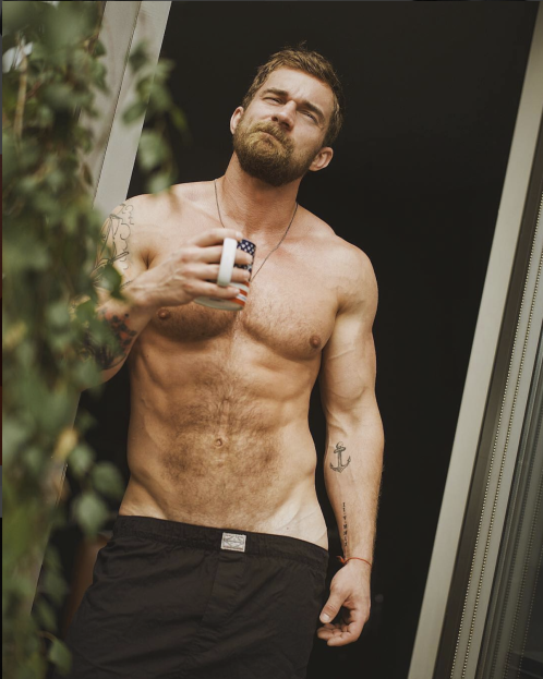 hot guy with coffee